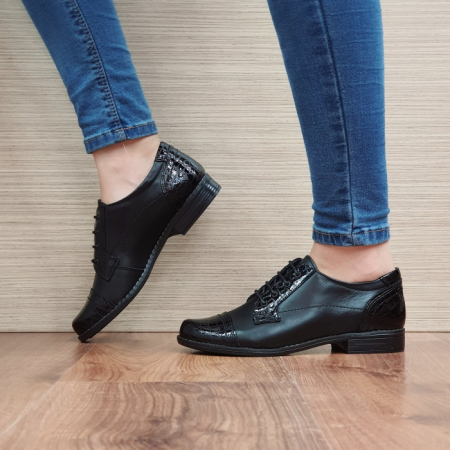 Pantofi Oxford Piele Naturala Negri Elke D025141