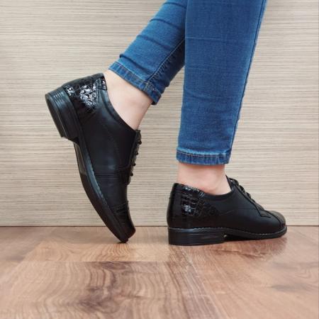 Pantofi Oxford Piele Naturala Negri Elke D025143