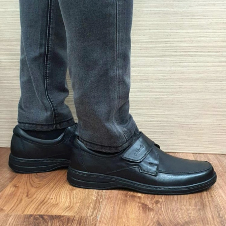 Pantofi Barbati Casual Piele Naturala Negri Adam B000660