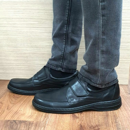 Pantofi Barbati Casual Piele Naturala Negri Adam B000661