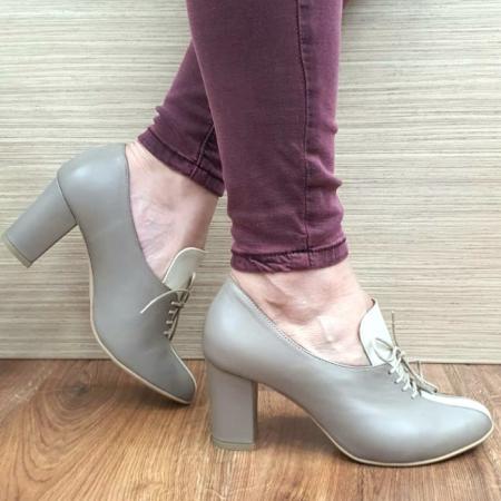 Pantofi cu toc Piele Naturala Crem Guban Alova D02552 [0]