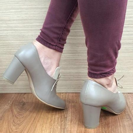 Pantofi cu toc Piele Naturala Crem Guban Alova D02552 [3]
