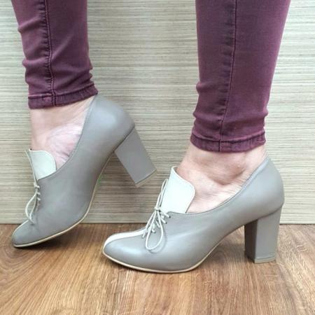 Pantofi cu toc Piele Naturala Crem Guban Alova D02552 [1]