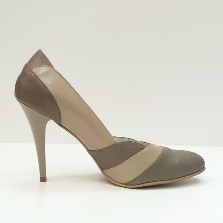 Pantofi cu toc Piele Naturala Grej Apfia D025900