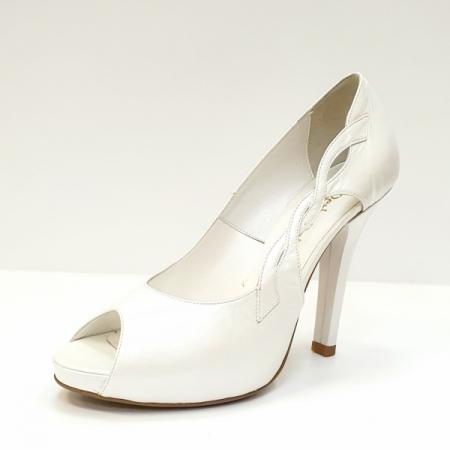 Pantofi Dama Piele Naturala Albi Adana D026052