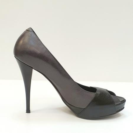 Pantofi Dama Piele Naturala Gri Dina D02609 [0]