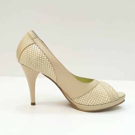 Pantofi Dama Piele Naturala Bej Edena D02610 [0]