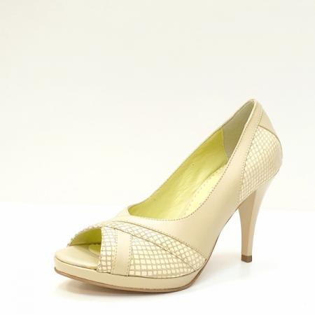 Pantofi Dama Piele Naturala Bej Edena D02610 [2]