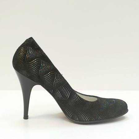 Pantofi cu toc Piele Naturala Negri Hetura D026190