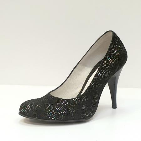 Pantofi cu toc Piele Naturala Negri Hetura D026192
