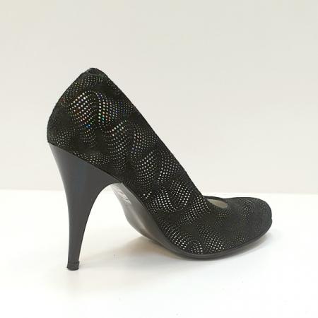Pantofi cu toc Piele Naturala Negri Hetura D026193