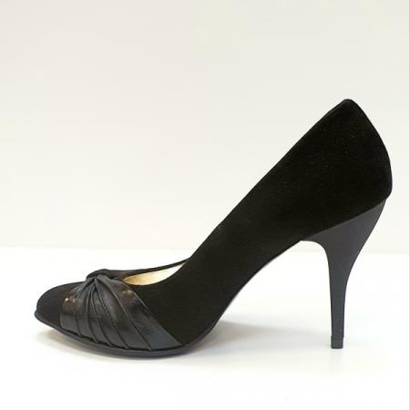 Pantofi cu toc Piele Naturala Moda Prosper Negri Illy D026201