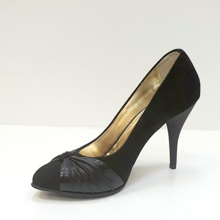Pantofi cu toc Piele Naturala Moda Prosper Negri Illy D026202