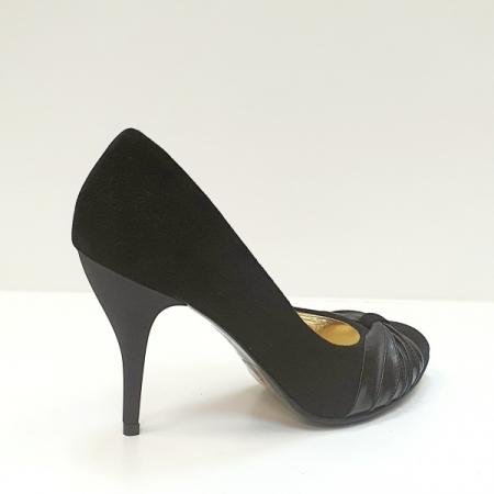 Pantofi cu toc Piele Naturala Moda Prosper Negri Illy D026203