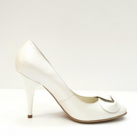 Pantofi cu toc Piele Naturala Albi D026210