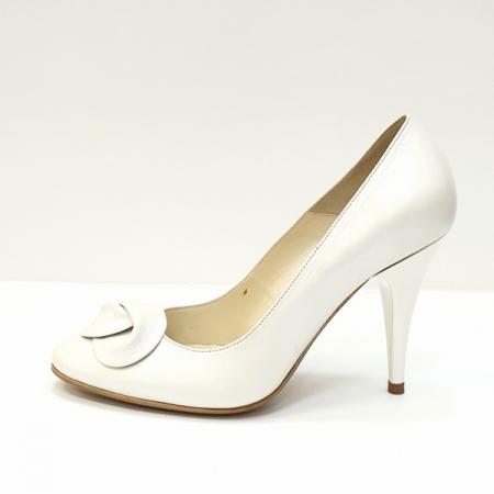 Pantofi cu toc Piele Naturala Albi D026211