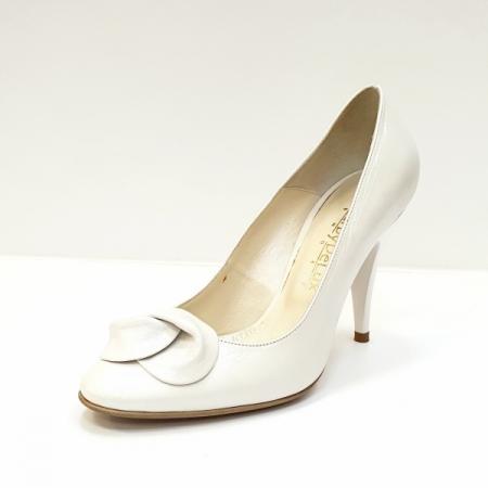 Pantofi cu toc Piele Naturala Albi D026212