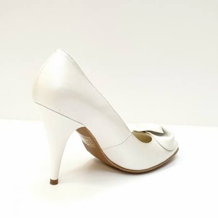 Pantofi cu toc Piele Naturala Albi D026213