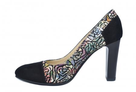 Pantofi cu toc Piele Naturala Negri Yana D021861