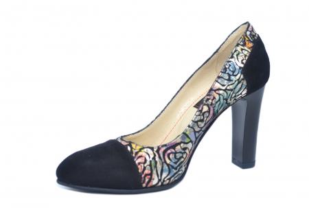 Pantofi cu toc Piele Naturala Negri Yana D021862