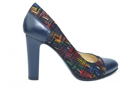 Pantofi cu toc Piele Naturala Bleumarin Yana D021880