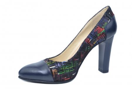 Pantofi cu toc Piele Naturala Bleumarin Yana D021882