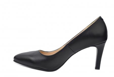 Pantofi cu toc Piele Naturala Negri Isabella D022001