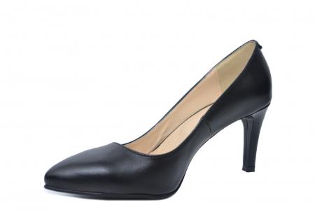 Pantofi cu toc Piele Naturala Negri Isabella D022002
