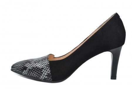 Pantofi cu toc Piele Naturala Negri Mina D021991
