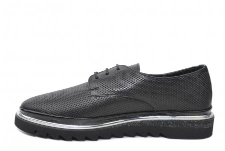 Pantofi Casual Piele Naturala Neagra Linda D022011