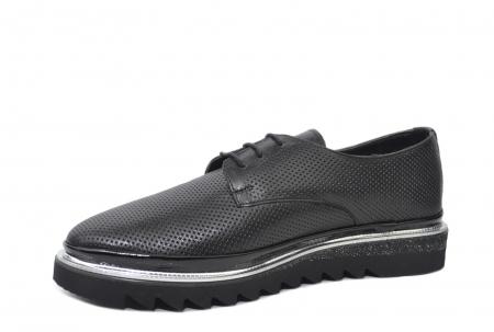 Pantofi Casual Piele Naturala Neagra Linda D022012
