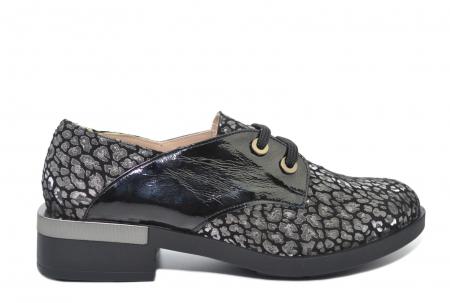 Pantofi Oxford Piele Naturala Neagra Letizia D022020