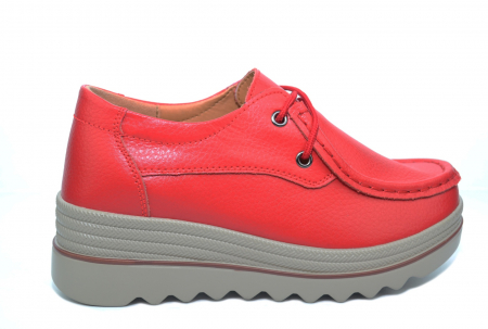 Pantofi Casual Piele Naturala Rosii Caterina D02263 [0]