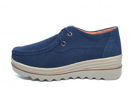 Pantofi Casual Piele Naturala Intoarsa Bleumarin Caterina D022581