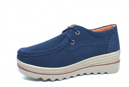Pantofi Casual Piele Naturala Intoarsa Bleumarin Caterina D022582