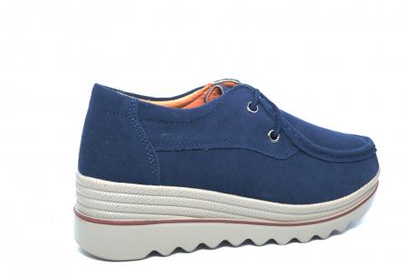 Pantofi Casual Piele Naturala Intoarsa Bleumarin Caterina D022583
