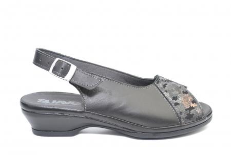 Sandale Piele Naturala Negre Bianca0