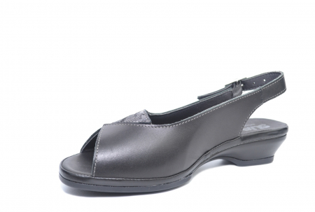 Sandale Piele Naturala Negre Bianca2