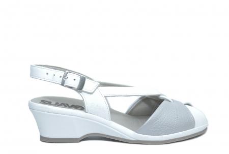 Sandale Piele Naturala Albe Silvia0