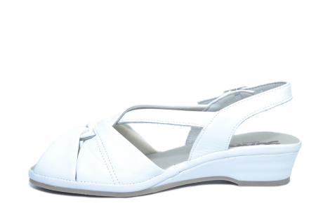 Sandale Piele Naturala Albe Elinda1
