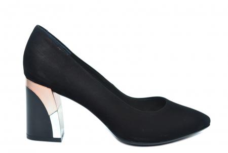 Pantofi cu toc Piele Naturala Negri Epica Lucille D022350