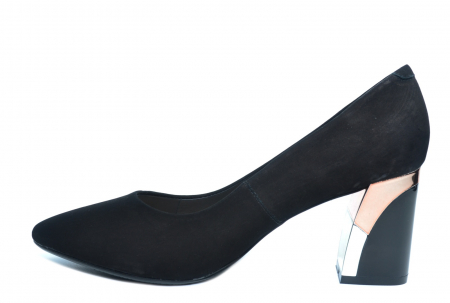 Pantofi cu toc Piele Naturala Negri Epica Lucille D022351