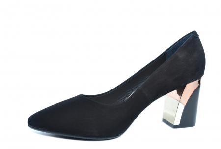 Pantofi cu toc Piele Naturala Negri Epica Lucille D022352