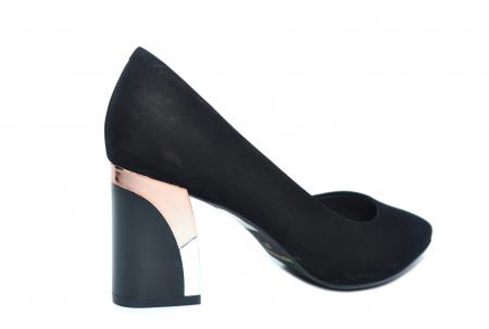 Pantofi cu toc Piele Naturala Negri Epica Lucille D022353