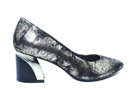 Pantofi cu toc Piele Naturala Negri Epica Alva D022380