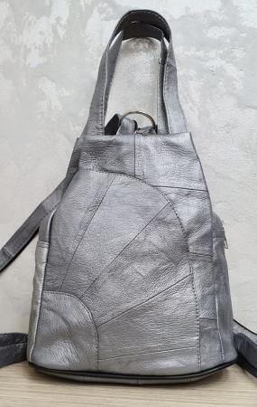 Rucsac Dama Piele Naturala Argintiu Clarisa G003582