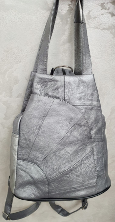 Rucsac Dama Piele Naturala Argintiu Clarisa G003586