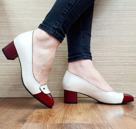 Pantofi cu toc Piele Naturala Alb Moda Prosper Simina D026491