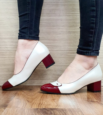 Pantofi cu toc Piele Naturala Alb Moda Prosper Simina D026490