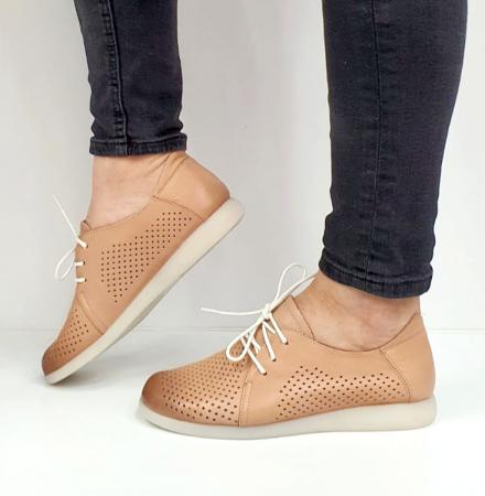Pantofi Casual Piele Naturala Crem Zeal D026506
